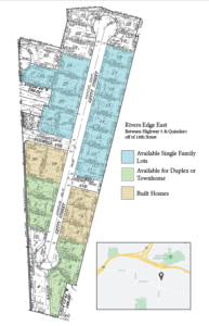 a map of River's Edge East that shows available lots